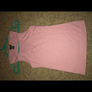 Pink V-Neck Tank Top With Criss Cross Detailing